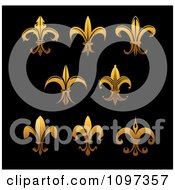 Clipart Golden Fleur De Lis Symbols On Black Royalty Free Vector Illustration