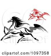 Clipart Black And Red Horses Running 1 Royalty Free Vector Illustration