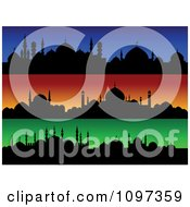 Clipart Blue Orange And Green Silhouetted Mosque Roof Tops Royalty Free Vector Illustration