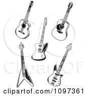 Clipart Black And White Rock Music Guitars Royalty Free Vector Illustration