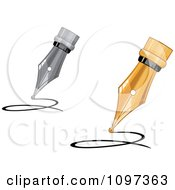 Clipart 3d Silver And Gold Calligraphy Ink Pens Writing Royalty Free Vector Illustration