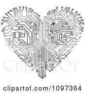 Clipart Black And White Circuit Board Heart Royalty Free Vector Illustration