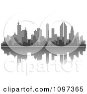 Clipart Grayscale City Skyline And Reflection Royalty Free Vector Illustration by Vector Tradition SM
