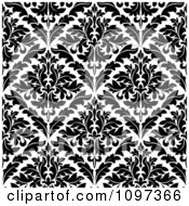 Clipart Black And White Triangular Damask Pattern Seamless Background 20 Royalty Free Vector Illustration