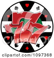 Poker Chip With Three Lucky Number Sevens