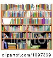 Clipart Shelves With Colorful Reference Books Royalty Free Vector Illustration by Seamartini Graphics