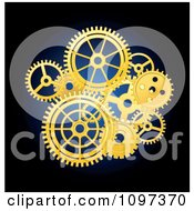 Clipart Golden Mechanical Gear Cogs Over Blue And Black Royalty Free Vector Illustration