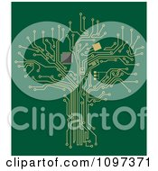 Clipart Gold Circuit Tree On Green Royalty Free Vector Illustration