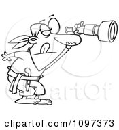 Clipart Outlined Pirate Peering Through A Spyglass Telescope Royalty Free Vector Illustration