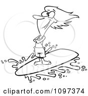 Clipart Outlined Happy Surfer Girl Riding A Wave Royalty Free Vector Illustration