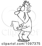 Clipart Outlined Happy Young Man Using A Computer Tablet Royalty Free Vector Illustration