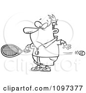 Clipart Outlined Surprised Man Watching A Fast Tennis Ball Fly Through His Belly Royalty Free Vector Illustration