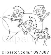 Clipart Outlined Energetic Boy Bouncing Off The Walls Royalty Free Vector Illustration by Ron Leishman