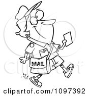 Clipart Outlined Happy Mail Woman Walking And Holding A Message Royalty Free Vector Illustration