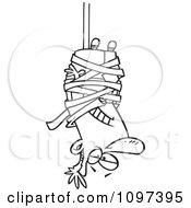 Clipart Outlined Businessman Caught Hanging Upside Down In Tape Formalities Royalty Free Vector Illustration