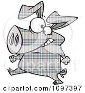 Happy Plaid Pig Walking Upright