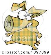 Happy Yellow Plaid Pig Walking Upright