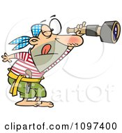Clipart Pirate Viewing Through A Spyglass Telescope Royalty Free Vector Illustration by toonaday