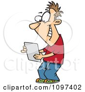 Clipart Happy Young Man Using A Computer Tablet Royalty Free Vector Illustration