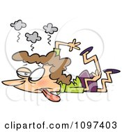 Clipart Trampled Exhausted Mom Crushed On The Floor Royalty Free Vector Illustration by Ron Leishman