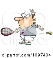Clipart Surprised Man Watching A Fast Tennis Ball Fly Through His Belly Royalty Free Vector Illustration