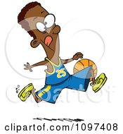Clipart Black Athletic Basketball Player Dribbling The Ball Royalty Free Vector Illustration