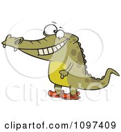Happy Crocodile Standing Upright And Wearing Crocs On His Feet