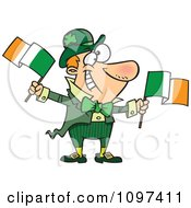Clipart Happy Irish Man Leprechaun Waving Two Flags Royalty Free Vector Illustration