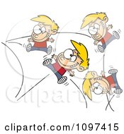 Clipart Hyper Boy Bouncing Off The Walls Royalty Free Vector Illustration by Ron Leishman