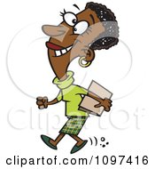Clipart Happy Black Businesswoman Off To A Meeting Royalty Free Vector Illustration