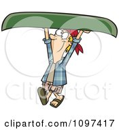 Happy Man Carrying A Canoe Over His Head