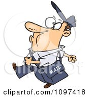 Clipart Happy Mail Man Whistling And Walking Royalty Free Vector Illustration