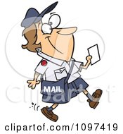 Clipart Happy Mail Woman Walking And Carrying A Message Royalty Free Vector Illustration by toonaday
