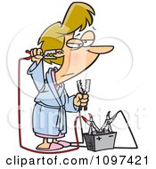 Clipart Tired Woman Trying To Up Her Energy With A Battery Jump Start Battery Royalty Free Vector Illustration by toonaday