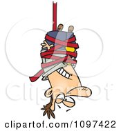 Clipart Businessman Caught Hanging Upside Down In Red Tape Formalities Royalty Free Vector Illustration by toonaday