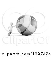 Clipart 3d White Guy Leaning Against A Gray Globe Royalty Free CGI Illustration