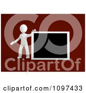 Clipart 3d White Person Holding Up A Blank Board Royalty Free CGI Illustration