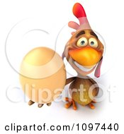 Clipart 3d Brown Chicken Holding An Egg 6 Royalty Free CGI Illustration
