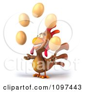 Clipart 3d Brown Chicken Juggling Eggs 4 Royalty Free CGI Illustration