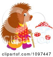 Clipart Hedgehog In Clothes Walking Upright And Gathering Mushrooms Royalty Free Vector Illustration