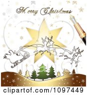 Clipart Merry Christmas Greeting Drawn By A Pen Over Santas Magic Sleigh And Trees Royalty Free Vector Illustration by merlinul