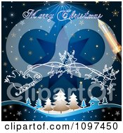 Clipart Merry Christmas Greeting Drawn By A Pen Over Santas Magic Sleigh And Blue Royalty Free Vector Illustration by merlinul