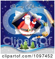 Clipart Merry Christmas Greeting Drawn By A Pen Over Santa Delivering Gifts Royalty Free Vector Illustration by merlinul