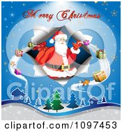 Clipart Merry Christmas Greeting Over Over Santa Delivering Presents Royalty Free Vector Illustration by merlinul
