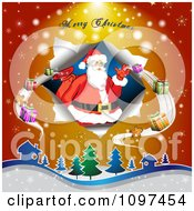Clipart Merry Christmas Greeting Over Over Santa Delivering Gifts Royalty Free Vector Illustration by merlinul