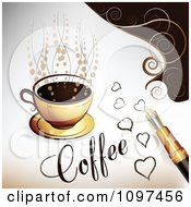 Clipart Calligraphy Ink Pen Drawing Hearts By A Cup Of Coffee Royalty Free Vector Illustration
