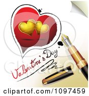 3d Fountain Pen Drawing Red And Gold Hearts And Valentines Day Text On A Page