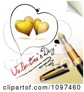 3d Fountain Pen Drawing An Outline Around Two Gold Hearts And Valentines Day Text On A Page