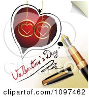 3d Fountain Pen Drawing A Heart Outline Around Red And Golden Hearts And Valentines Day Text On A Page