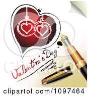 3d Fountain Pen Drawing A Heart And Valentines Day Text On A Page